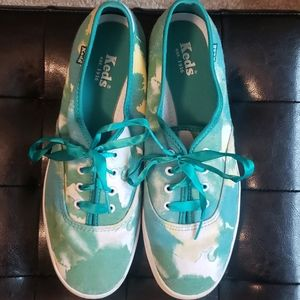 Tie Die KEDS sz 8 one of a kind! ribbon laces